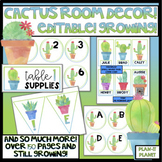 BUNDLE!  Cactus Classroom Decor and Binder Covers! GROWING!  EDITABLE!