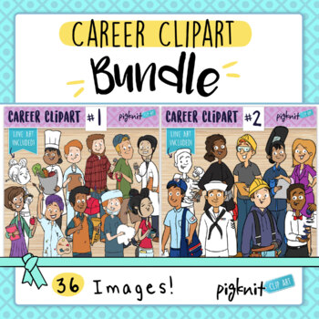 BUNDLE Career Clipart | 18 Characters in Color and BW Line Art!