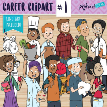 Bundle Career Clipart Of 18 Adult Characters In Color And Bw Line Art