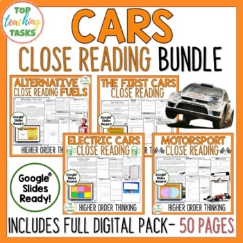 Cars! - Close Reading Comprehension with Higher Order Thinking Activities US/NZ