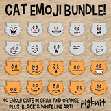 BUNDLE Cat Emoji Clipart | Emotion Clipart | Emoticons | Facial Expressions