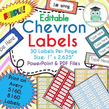 bundle chevron labels editable classroom notebook folder name tags