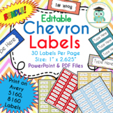 BUNDLE Chevron Labels Editable Classroom Notebook Folder Name Tags (Avery 5160)