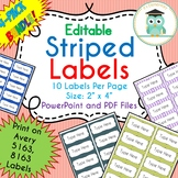 BUNDLE Striped Labels Editable Classroom Notebook Folder Name (Avery 5163, 8163)