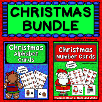 Christmas Activities Bundle: Alphabet Cards and Number Cards 1-20