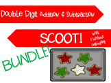BUNDLE: Christmas Double Digit Addition AND Subtraction Scoot