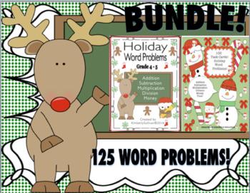 BUNDLE Christmas Math 125 Word Problems Task Cards Centers