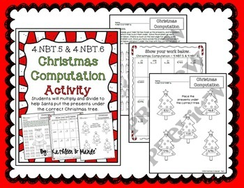 BUNDLE: Christmas Multiplication & Division {4.NBT.5, 4.NBT.6, 4.OA.3}