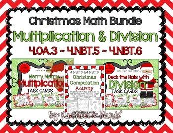 BUNDLE: Christmas Multiplication & Division {4.NBT.5, 4.NB