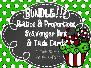 BUNDLE! Christmas Task Cards and Scavenger Hunt - Ratio &