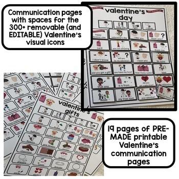 BUNDLE. Christmas and Valentine's EDITABLE visual communication binders.