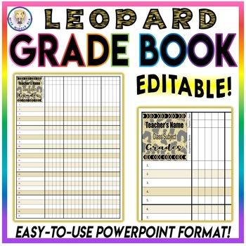 BUNDLE!! Class Roster Sheet Chart AND Grade Book - Leopard - EDITABLE