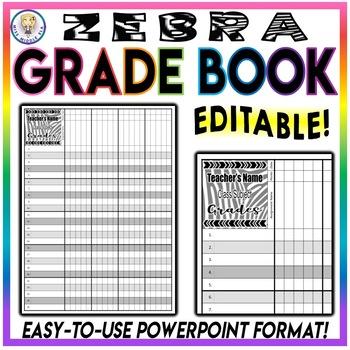 BUNDLE!! Class Roster Sheet Chart AND Grade Book - Zebra - EDITABLE