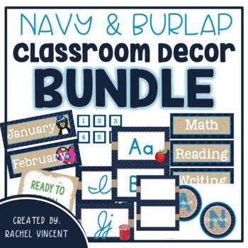 BUNDLE Classroom Decor Pack {Navy, Burlap, Turquoise Decor}