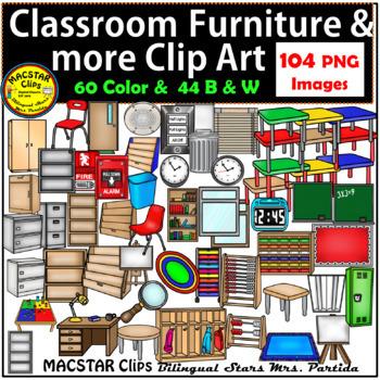 BUNDLE Classroom Furniture, Technology, SuppliesClip Art
