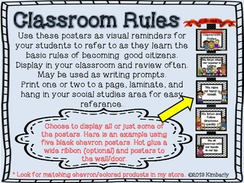 {BUNDLE} Classroom Rules Posters:Chevron Background in 8 Different Colors