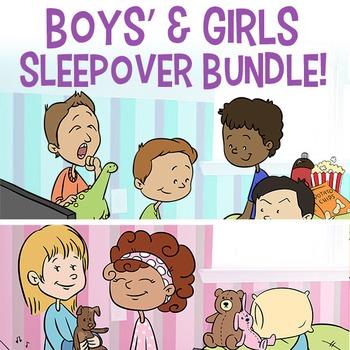 BUNDLE Clip Art Sleepover Set for Girls & Boys | Slumber Party | Boy Themed