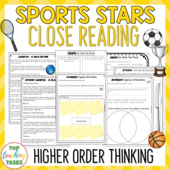 Sports Stars - Close Reading Comprehension Texts / Higher