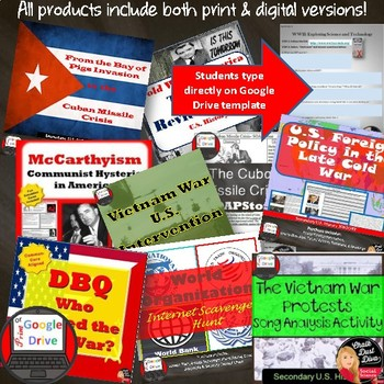 Cold War in America BUNDLE  -16 products included Print and Digital