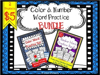 BUNDLE: Color and Number Word Practice Sets (2 Products)