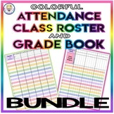 BUNDLE! Colorful Roster Attendance Sheet and Grade Book Templates - EDITABLE!