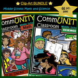 BUNDLE CommUNITY Middle School Math and Science: 66 pc. BW/Color Clip-Art!
