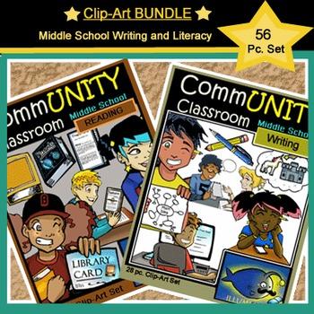 *BUNDLE*: CommUNITY Middle School Writing& Literacy Set: 56 pc. Clip Art!