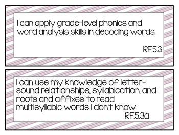 BUNDLE: Common Core ELA & Math 5th Grade I can statement signs (mauve & grey)
