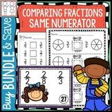 BUNDLE: Comparing Fractions Same Numerator