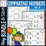 BUNDLE: Comparing Numbers to 5 Worksheets