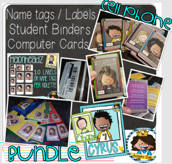 BUNDLE {Bright colors} + Binders + Labels + Cell phone cards / 72 of ea