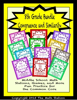 BUNDLE Congruence and Similarity Math Stations for Common Core Eighth Grade