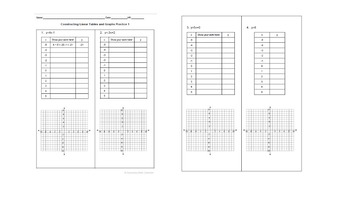 BUNDLE! Constructing Tables and Graphs from Linear Equations Worksheets 1 and 2
