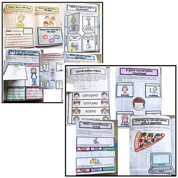 BUNDLE: Conversation and social skills supports. Interactive notebook & prompts