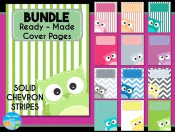 BUNDLE : Cover Pages Patchwork Owls : 3 Sets - Solids, Chevron, Stripes