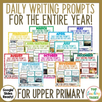 Daily Writing Prompts Bundle PowerPoint, Journal & Worksheets FULL YEAR NZ
