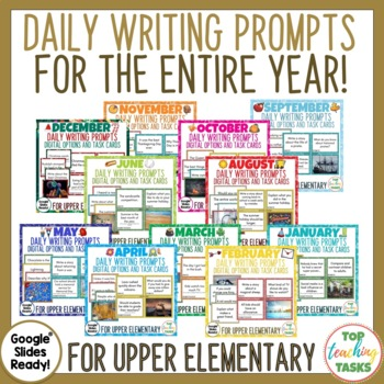 Daily Writing Prompts PowerPoint, Journal & Worksheet FULL YEAR US