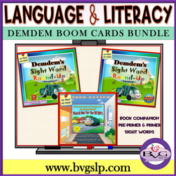 BUNDLE Demdem Comprehension Literacy Sight Word Boom Cards - Teletherapy