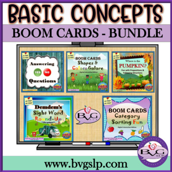 BUNDLE Digital Interactive BOOM CARDS NO PREP NO PRINT - Teletherapy