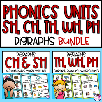 BUNDLE Digraphs SH, CH, TH, WH, PH Word Activities