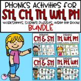 Digraphs SH, CH, TH, WH, PH Word Activities and Write the Room BUNDLE