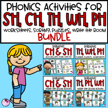 BUNDLE Digraphs SH, CH, TH, WH, PH Word Activities and Wri