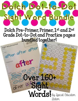 BUNDLE Dolch Pre-Primer thru 2nd Grade Dot-to-dot Sheets