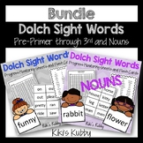 BUNDLE Dolch Sight Words: Progress Monitoring Sheets and Flash Cards