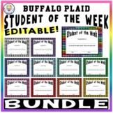 BUNDLE!! EDITABLE - Plaid Student of the Week Award Certificates - 11 Colors