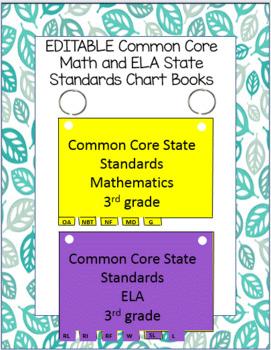 BUNDLE - EDITABLE Third Grade ELA AND Math Common Core Standards flip books
