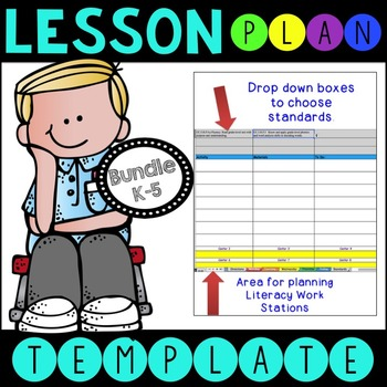 BUNDLE ELA CCSS Lesson Plan Templates with Drop Down Boxes