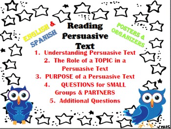 BUNDLE ENGLISH & SPANISH Reading Persuasive Text (Lectura