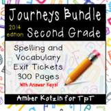 BUNDLE - EXIT TICKETS - Vocab & Spelling 2nd Grade Journeys Units 1-6 ©2014