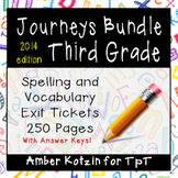 BUNDLE - EXIT TICKETS - Vocab & Spelling 3rd Grade Journeys Units 1-5 ©2014